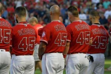 スカッグスの背番号「45」を身にまとったエンゼルスが継投でノーヒットノーランを達成【写真:Getty Images】