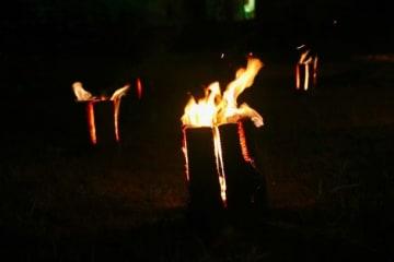 丸太に直接火を付ける「スウェーデントーチ」(レディーフォー提供)
