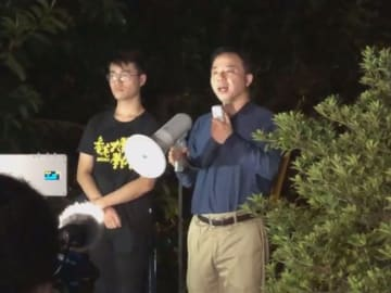 HKUSU Acting President Davin Wong and HKU Vice-chancellor Zhang Xiang. Photo: Campus TV, HKUSU screenshot.