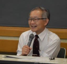 講演する県立女子大の北川和秀名誉教授