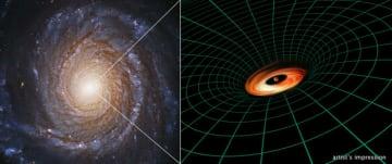 渦巻銀河NGC3147のブラックホールに存在する降着円盤の想像図 (c) NASA, ESA, S. Bianchi (Università degli Studi Roma Tre University), A. Laor (Technion-Israel Institute of Technology), and M. Chiaberge (ESA, STScI, and JHU); illustration: NASA, ESA, and A. Feild and L....