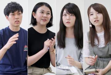 消費税増税について意見を交わす(左から)宿里さん、近藤さん、岩永さん、久保田さん=長崎市、長崎大経済学部