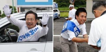 選挙カーから支持を訴える石井候補=岡山市南区(写真左)と、握手で支援を呼び掛ける原田候補=岡山市東区
