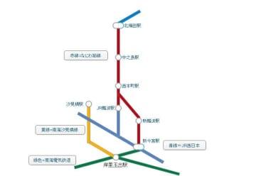 なにわ筋線・南海汐見橋線の略図