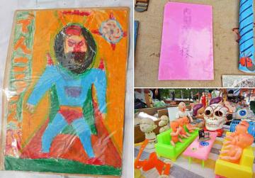 【1】子どもがクレヨンで描いた何かのヒーローの絵(左)、【2】「インスタ映え」間違いなし!?ポップでキッチュな昭和レトロ雑貨(右下)、【3】見知らぬ人からの手紙(右上)