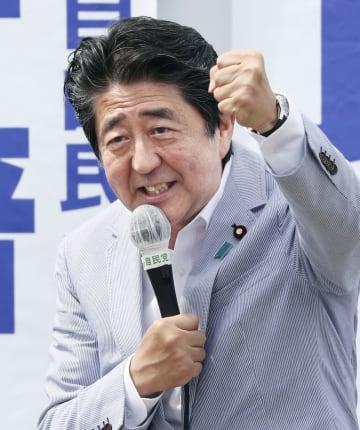 街頭演説する自民党総裁の安倍首相=16日午後、新潟県上越市