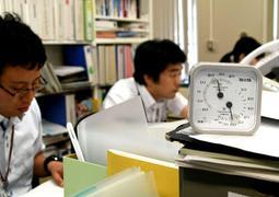 25度の室内で仕事に臨む姫路市職員ら=姫路市役所
