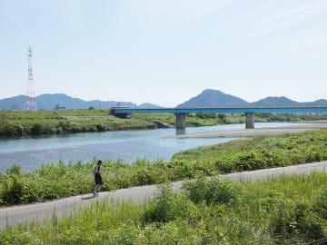 加納藩の村人が開いた花火大会は、小紅河原など現在の鏡島大橋付近の右岸が会場になった=岐阜市鏡島、長良川河畔