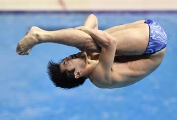 男子3メートル板飛び込み予選 演技する坂井丞=光州(共同)