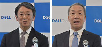 EMCジャパンの大塚社長(左)とデルの平手社長(右)(2018年撮影)