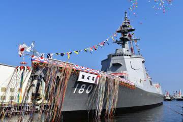 進水した新造イージス艦「はぐろ」=横浜市磯子区