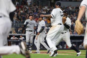 口論となったヤンキースのCC・サバシアとレイズのアビサイル・ガルシア【写真:Getty Images】