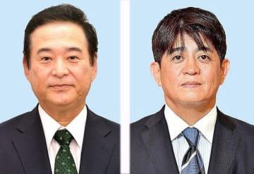 参院選に立候補している高良鉄美氏(左)と安里繁信氏