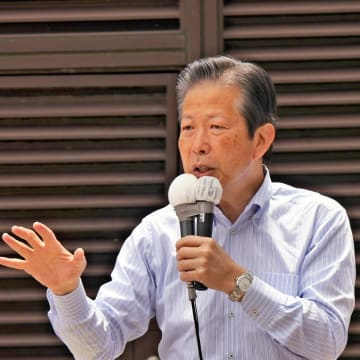21日の参院選投開票を前に野党批判を繰り広げる公明党・山口代表=横浜市西区