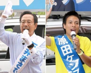 街頭で支持を求める石井候補=岡山市東区(左)と演説で政策を訴える原田候補=岡山市南区