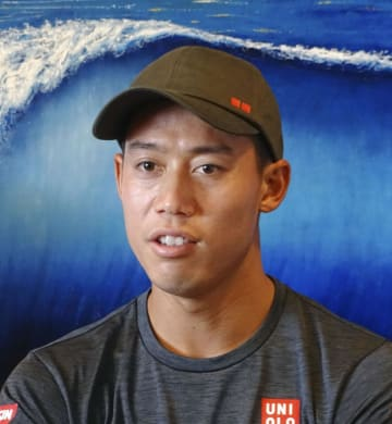 東京五輪について語る男子テニスの錦織圭=20日、ニューポートビーチ(共同)