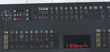 大船渡-盛岡四 八回2死 高校野球公式戦で史上2度目となる160キロの球速を表示するスコアボード=21日、岩手県営野球場