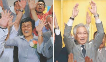 自民・西田昌司氏(右)、共産・倉林明子氏