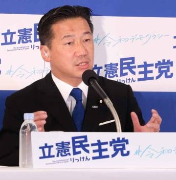 参院選の結果を受けて取材に応じる立民の福山幹事長(21日午後9時5分ごろ・東京都内)