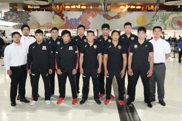 ▲ベラルーシへ向かった男子グレコローマンの全日本チーム