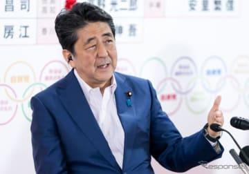 参院選の結果について述べる安倍首相(7月21日)