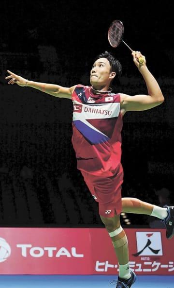 男子シングルス1回戦、デンマーク選手を破った桃田