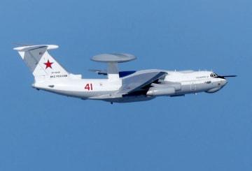 23日、日本海上空で撮影されたロシア軍のA50空中警戒管制機(防衛省提供)