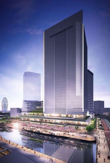 南西方向から見た新市庁舎のイメージ図(横浜市提供)