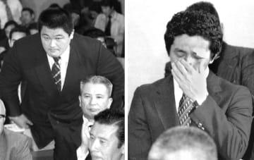 1980年4月、モスクワ五輪ボイコット問題で、参加を訴える柔道の山下泰裕選手(左)、レスリングの高田裕司選手=東京・岸記念体育会館
