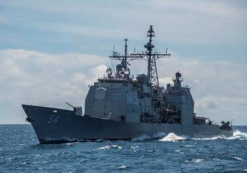米海軍のイージス巡洋艦アンティータム(ロイター=共同)