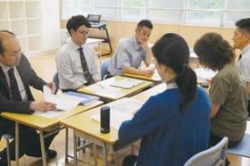 本室蘭中校区の小、中学校の教諭が課題の解決に向け意見を出し合った交流会