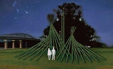 「循環の環」と名付けた竹あかりの作品イメージ図。約70本の竹を組み合わせる(アドベンチャーワールド提供)