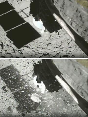 はやぶさ2が着陸直前(上)と着陸直後に撮影した小惑星りゅうぐうの表面(JAXAなど提供)