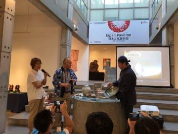 マカオで開催された『福岡「小石原焼」と観光セミナー』会場の様子=2019年7月25日、塔石ギャラリーにて本紙撮影