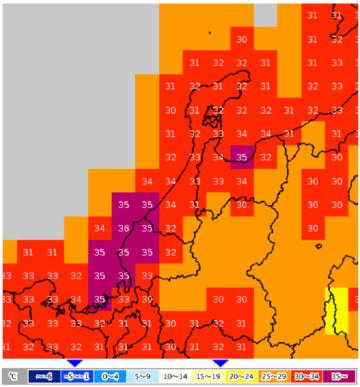7月26日の北陸地方(西部)の日中の最高気温予想(気象庁ホームページより)