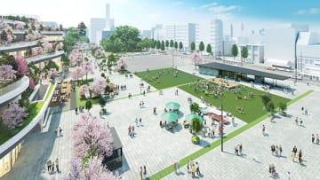 熊本市が桜町・花畑地区で整備するオープンスペースのイメージ図(熊本市提供)