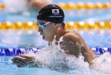 男子200メートル平泳ぎ決勝 銅メダルを獲得した渡辺一平=光州(共同)