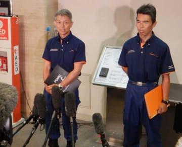 「京都アニメーション」第1スタジオの放火事件で、消火と負傷者の救助時の様子を証言する京都市消防局の指揮隊長(左)ら=京都市中京区