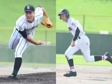 【22イニング連続無失点の津田学園主戦・前(左)と1番打者として海星打線を引っ張る山崎】