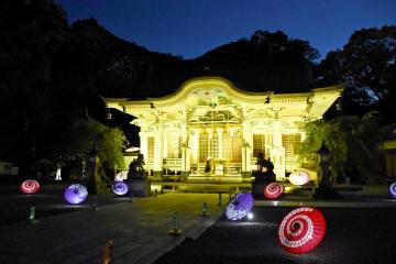 参道を傘が彩る武雄神社のライトアップ