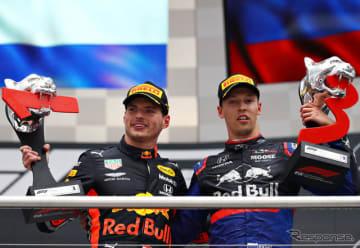 フェルスタッペン(左)が優勝、クビアト(右)が3位。ドイツGPでホンダ勢ダブル表彰台が実現した。