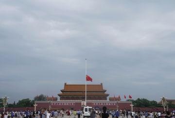 李鵬元国務院総理を追悼 天安門で半旗掲揚