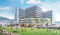 市立総合医療センターキセラ川西センター(仮称)の外観イメージ図。手前はキセラ川西せせらぎ公園(川西市提供)