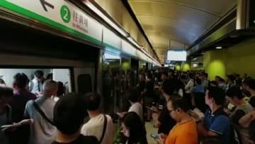 Train service stopped at Tiu Keng Leng station. Photo: Apple Daily.