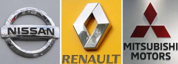 左から日産自動車、ルノー、三菱自動車のロゴマーク