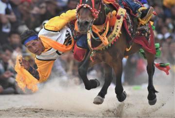 豊作祝う「望果節」で馬術大会を開催 チベット自治区曲水県