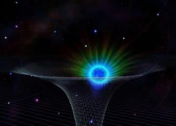 天の川銀河の中心に位置する超大質量ブラックホールとその周辺を公転するS0-2の想像図 (c) Nicolle Fuller/National Science Foundation