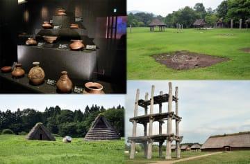 世界文化遺産へ前進した「北海道・北東北の縄文遺跡群」。(写真はコラージュ。左上から時計回りに、是川石器時代遺跡の出土品、御所野遺跡、三内丸山遺跡、二ツ森貝塚)