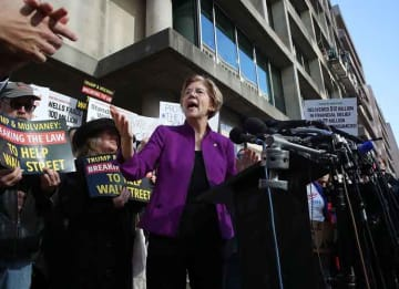 WASHINGTON, DC - NOVEMBER 28: Sen. Elizabeth Warren (D-MA) speaks during a protest in front of the Consumer Financial Protection Bureau (CFPB) headquarters on November 28, 2017 in Washington, DC. Sen. Warren is demanding that Mick Mulvaney step...