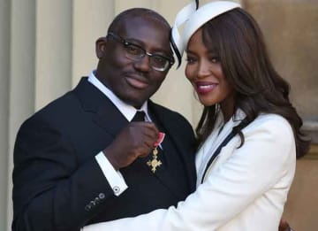 LONDON, ENGLAND - OCTOBER 27: Naomi Campbell poses with Edward Enninful after he received his Officer of the Order of the British Empire (OBE) at Buckingham Palace on October 27, 2016 in London, England. (Photo by Philip Toscano-WPA Pool/Getty...
